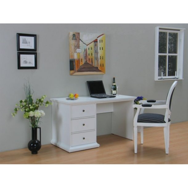 Venedig skrivebord med 3 skuffer bredde 130 cm, højde 73 cm hvid.