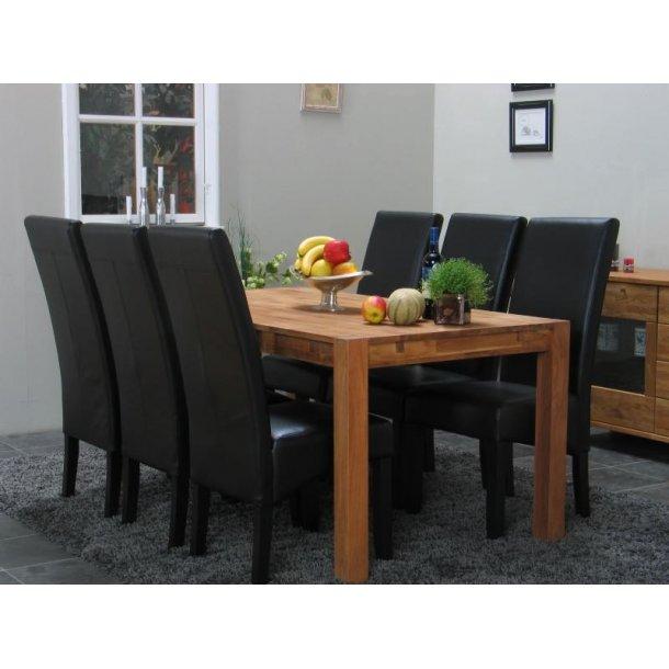 Mark spisegruppe 90x180 egetræ med 6 sort/sort Thor stole.