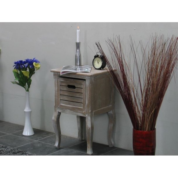 Madrid natbord med 1 skuffe, bredde 40 cm, højde 65 cm white wash.