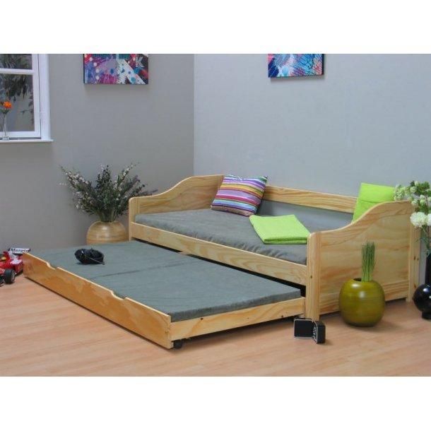 funktionsbett laura 90x200 mit ausziehbett und 2 lattenrosten natur schnelle lieferung 1 2. Black Bedroom Furniture Sets. Home Design Ideas