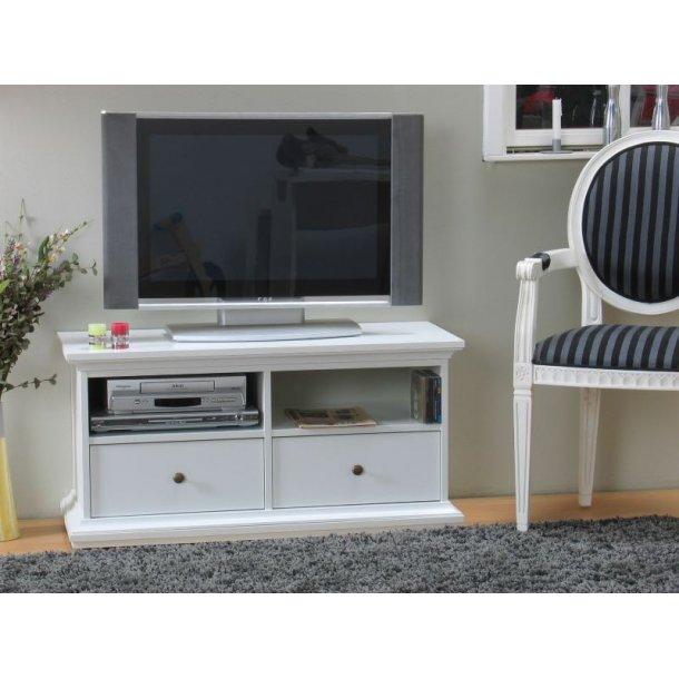 Venedig Tv-benk med 2 skuffer og 2 hyller bredde 102 cm, høyde 51 cm hvit.
