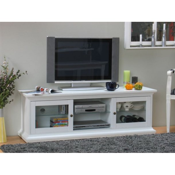 Venedig Tv/Hifi-møbel med 2 skydelåger bredde 150 cm, højde 51 cm hvid.