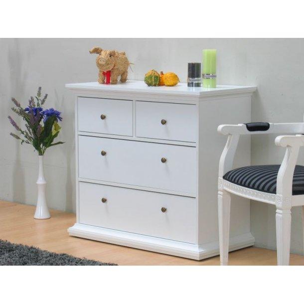 venedig kommode mit 2 kleinen und 2 grossen schubladen breite 96cm h he 86 cm weiss. Black Bedroom Furniture Sets. Home Design Ideas