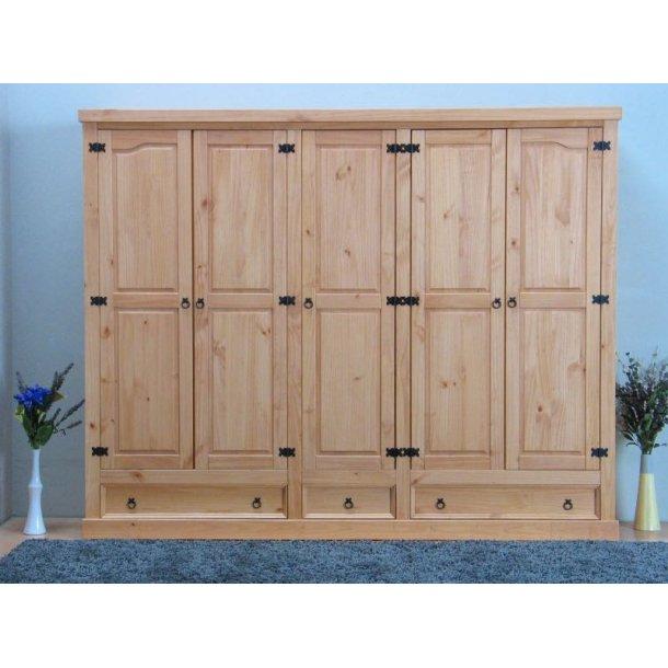 New Mexico garderobeskap 5-dørs med 3 skuffer bredde 244 cm, høyde 195 cm lut/voks.