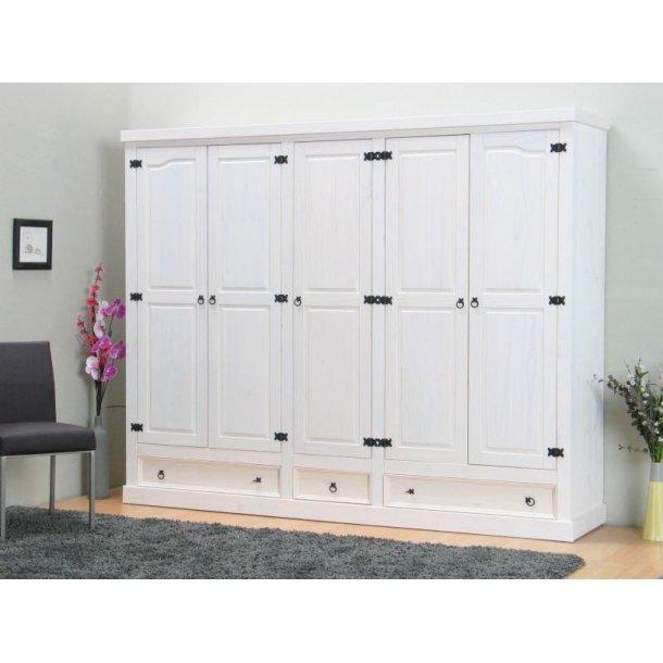 New Mexico klædeskab 5-dørs med 3 skuffer bredde 244 cm, højde 195 cm hvid/voks.