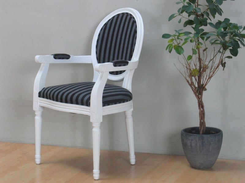 rokoko esszimmerstuhl mit armlehne weiss mit stoff schwarz gestreift bestellen sie hier. Black Bedroom Furniture Sets. Home Design Ideas