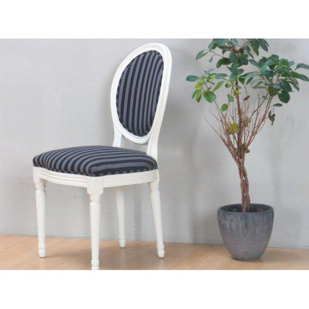 rokoko amaretta esszimmerstuhl antik weiss stoff schwarz gestreift bestellen sie hier. Black Bedroom Furniture Sets. Home Design Ideas