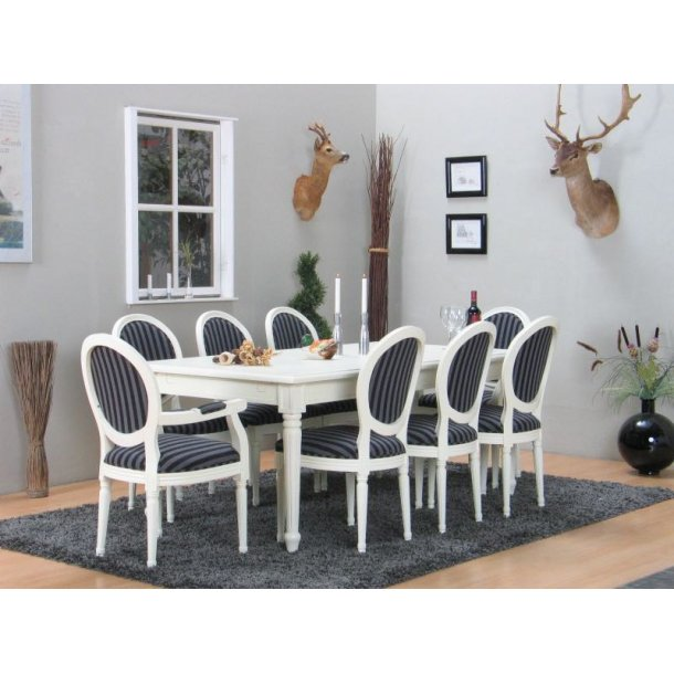 Amaretta spisegruppe 100x180/280 inkl. 2 tillægsplader hvid med 2+6 Rokoko stole antik hvid/sort.