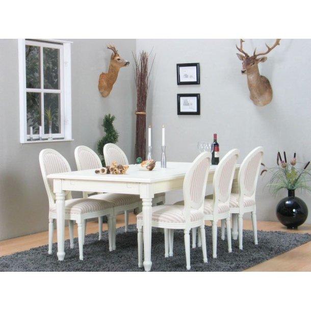 Amaretta spisegruppe 100x180/280 inkl. 2 tillægsplader hvid med 6 Rokoko stole antik hvid/beige.