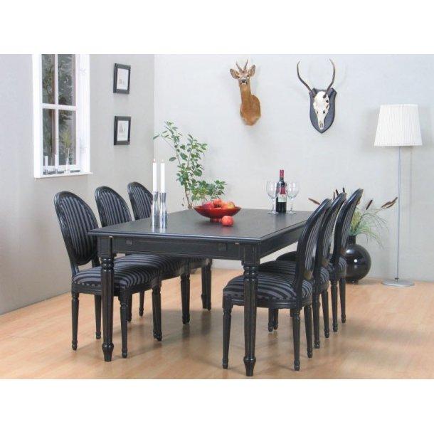 Flott Spisegruppe amaretta/rokokko spisebord + 6 stoler i svart. Kjøp her TE-21