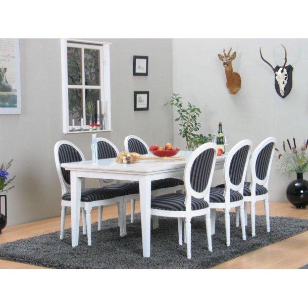 Venedig spisegruppe 95x180/276 inkl. 2 tilleggsplater, hvit med 6 Rokokko stoler hvit/svart.