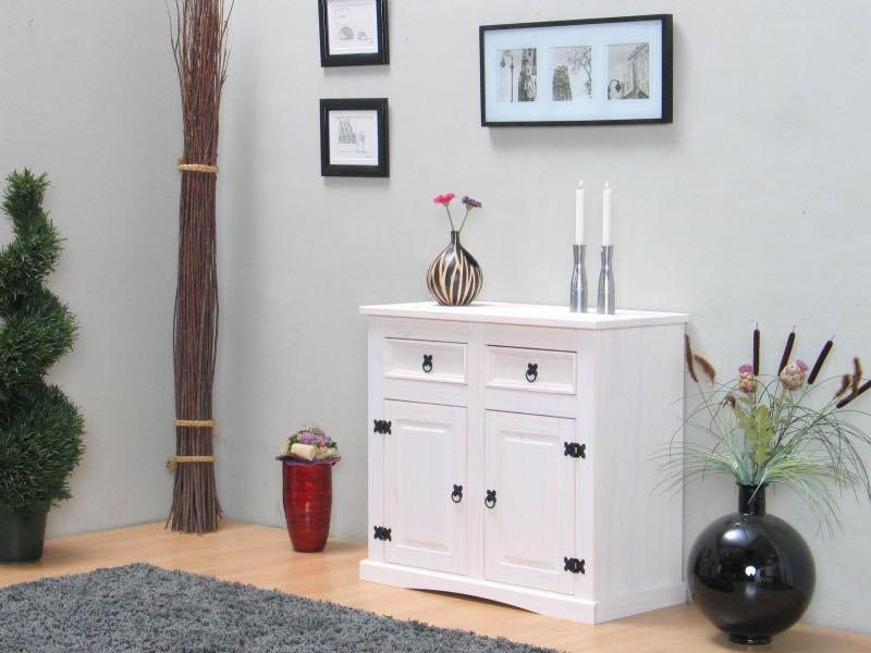 new mexico sideboard mit 2 schubladen und 2 t ren weiss. Black Bedroom Furniture Sets. Home Design Ideas