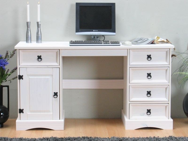 Hvitt hjørneskrivebord med skuffer