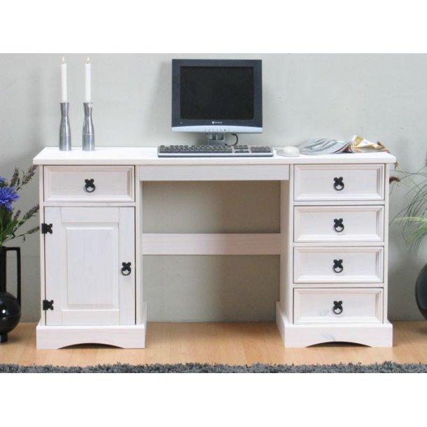 New Mexico skrivebord bredde 141 cm, højde 76 cm med 5 skuffer og 1 låge hvid/voks.