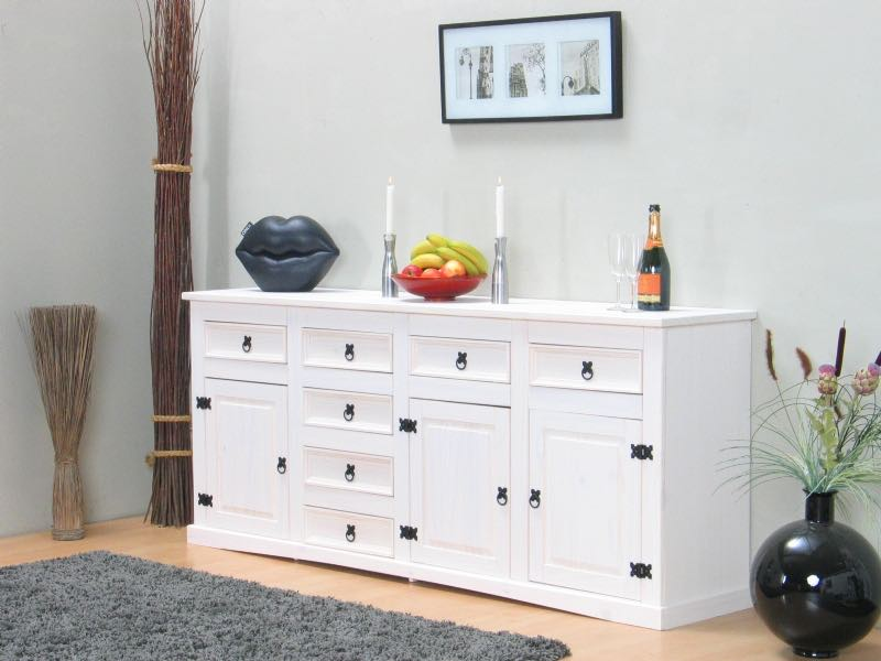 new mexico sideboard mit 7 schubladen und 3 t ren weiss gewachst bestellen sie hier. Black Bedroom Furniture Sets. Home Design Ideas