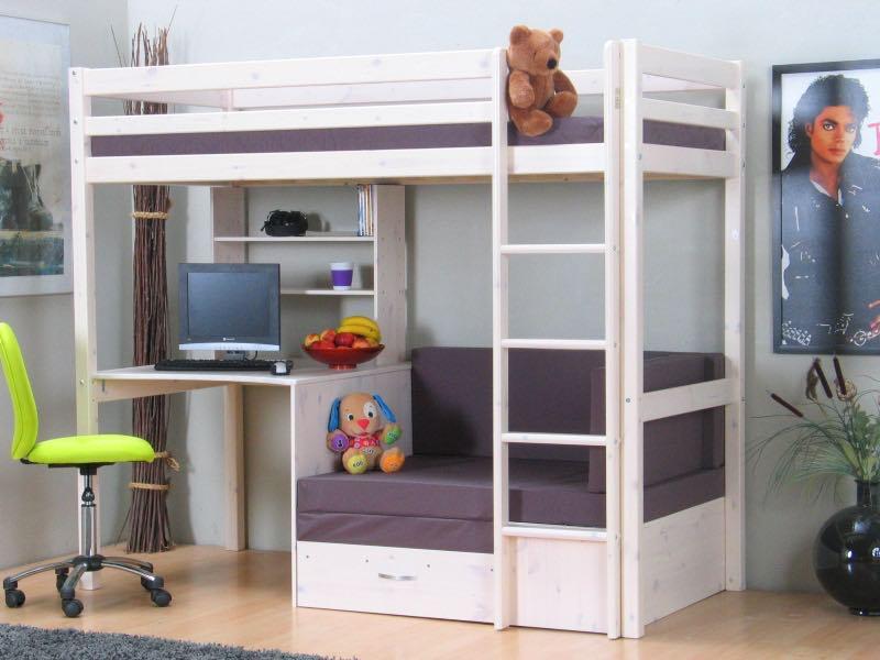 Thuka Kids Hochbett, Couch, Lattenrost, Matratze, Schreibplatte und Regal  weiss/grau.