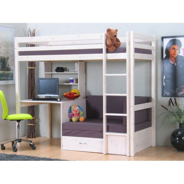 thuka kids hochbett couch lattenrost matratze schreibplatte und regal weiss grau bestellen. Black Bedroom Furniture Sets. Home Design Ideas