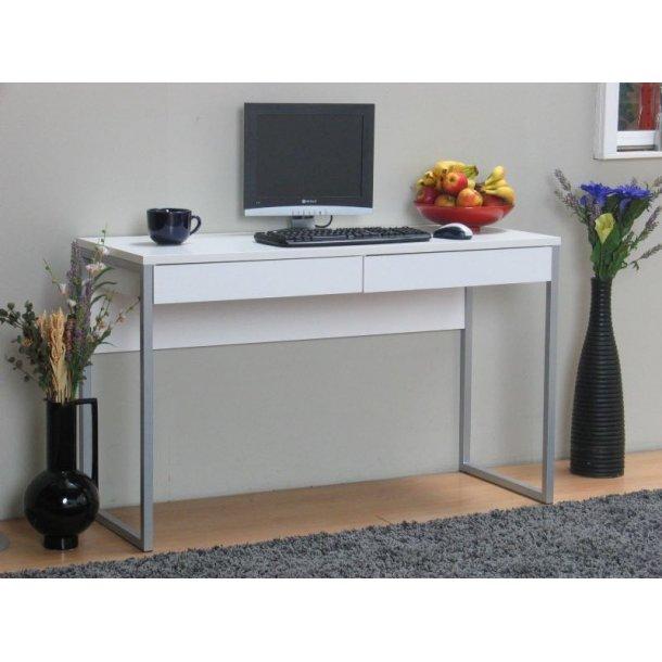 Function skrivebord bredde 126 cm, højde 77 cm hvid/stål.