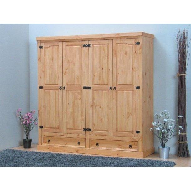 New Mexico garderobeskap 4-dørs med 2 skuffer bredde 194 cm, høyde 195 cm lut/voks.