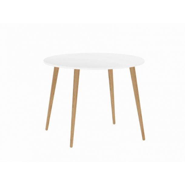 Napoli spisebord Ø 100 hvit/eik.