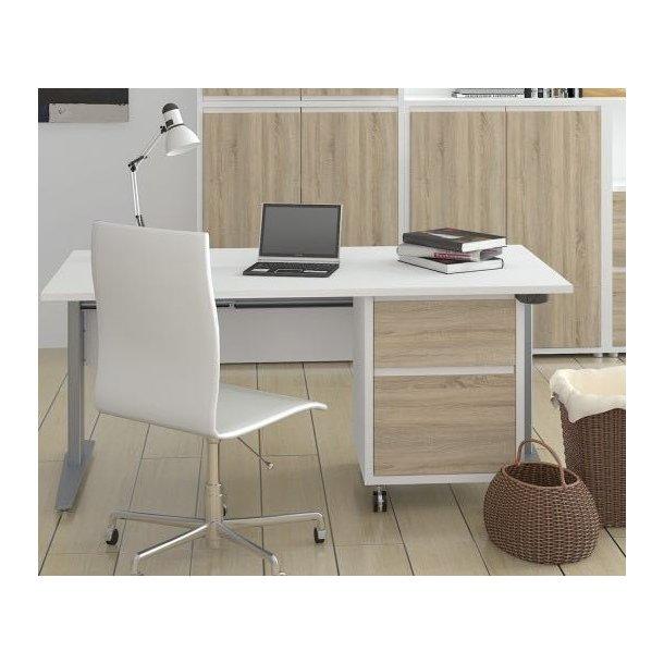 Prima elektronisk hæve/sænke skrivebord hvid og stål.