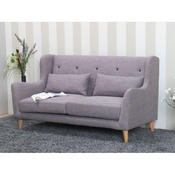 Retro sofa , højrygget 2-personers sofa i lys grå.