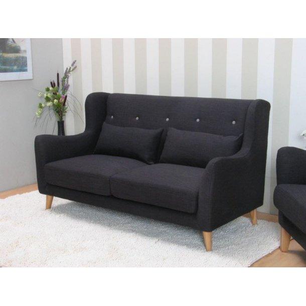 Retro sofa, højrygget 2-personers sofa i antracite grå.