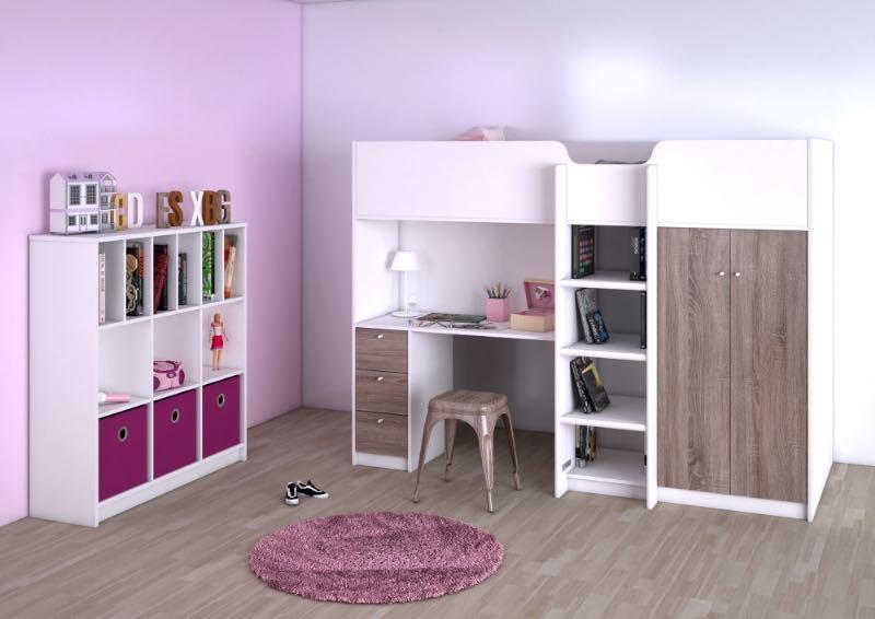 etagenbett irma mit schrank ablagen schreibtisch und schubladen schnelle lieferung. Black Bedroom Furniture Sets. Home Design Ideas