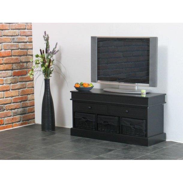 Trine Tv/Hifi-møbel med 2 skuffer og 3 kurve bredde 100 cm, højde 50 cm sort.