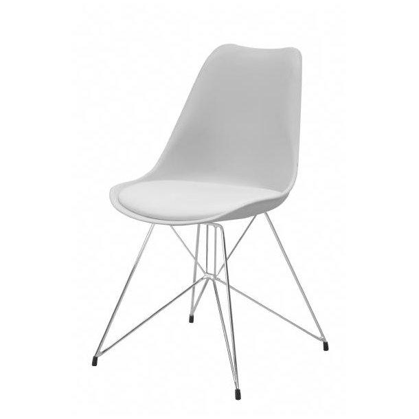 Annie spisestuestol forkromet stål stel og hvidt sæde.