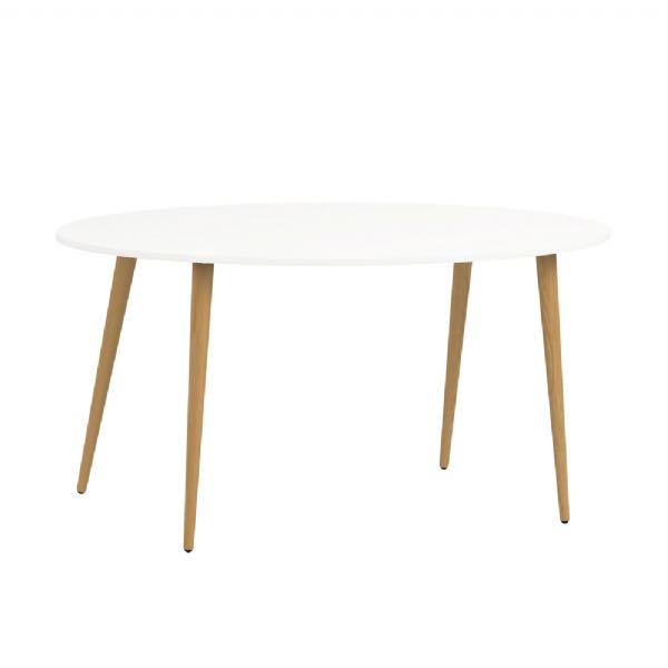 Spisebord Napoli ellipseformet hvid/eg, bestil online her!