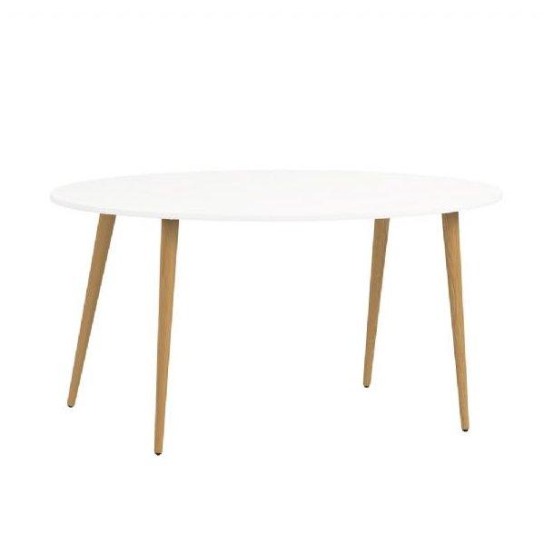Napoli spisebord ellipse formet hvit/eik.