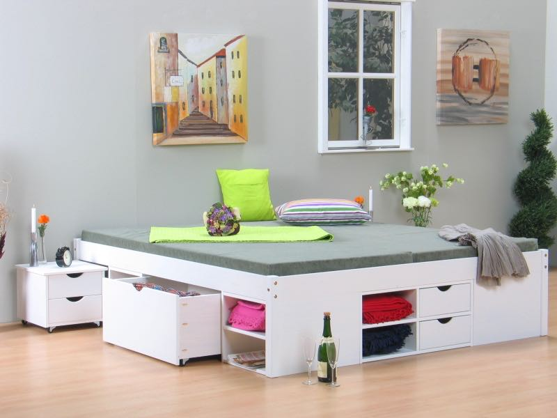 till doppelbett 140x200 cm einschl lattenroste weiss bestellen sie hier. Black Bedroom Furniture Sets. Home Design Ideas