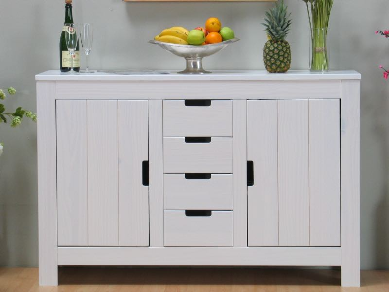 dirk sideboard mit 2 dreht ren og 4 schubladen weiss bestellen sie hier. Black Bedroom Furniture Sets. Home Design Ideas