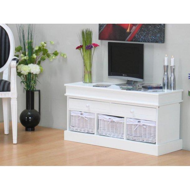 Trine Tv-benk med 2 skuffer og 3 kurve bredde 100 cm, høyde 50 cm hvit.