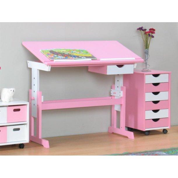 Cecilie børneskrivebord bredde 109 cm, højde 62-94 cm lyserød/hvid.